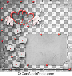 Vintage congratulation to holiday with hearts and envelopes