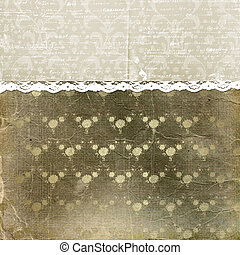 Alienated cover for photoalbum with lace and floral ornament