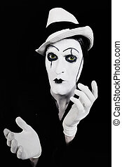 figure, mains, mime, sombre, maquillage