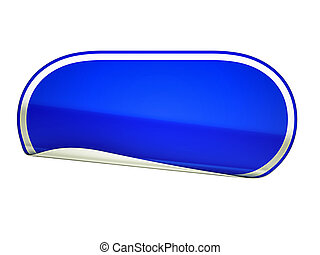 Blue rounded bent sticker or label over white background
