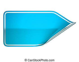 Blue bent label or sticker over white background