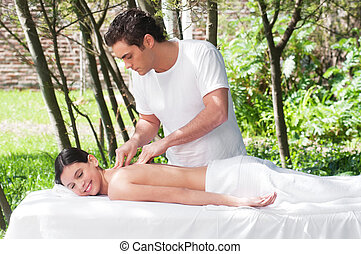 Beautiful girl getting a massage