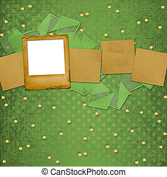 Grunge papers design in scrapbooking style with slides