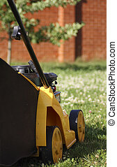 yellow lawn mower on green grass