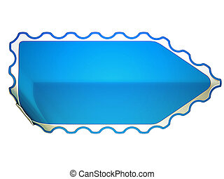 Jagged Blue bent sticker or label over white background