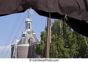 The Drommedaris in Enkhuizen, Holland - Historical town gate...