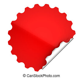 Red round bent sticker or label over white background