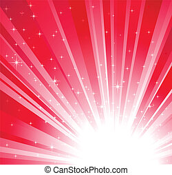 Red christmas, holidays background with light and stars
