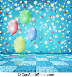 The dance room for the holidays with balloons, streamers and...
