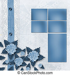 Blue album for photos with lace and asters