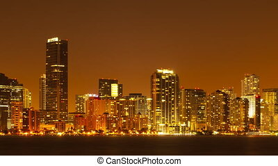 Skyline of Miami at night - Time lapse of skyline of Miami...
