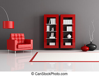 reading room - red and black reading room with leather...