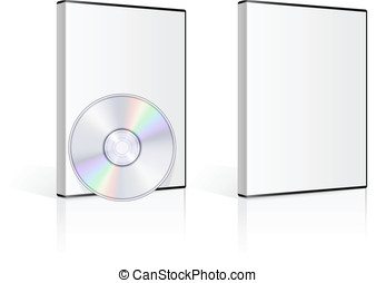 DVD case and disk on white background Vector illustration