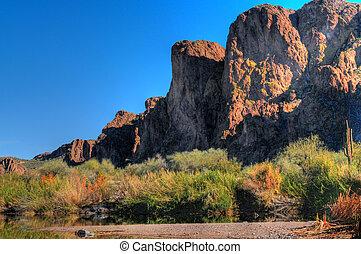 Desert River - River in the spring Arizona desert mountains...