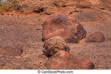 Ancient Arizona Indian petroglyphs - Stone carved...