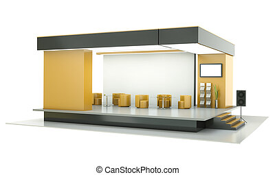 Exhibition stand - Empty exhibition stand 3D render