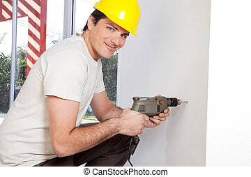 Portrait of smiling man worker