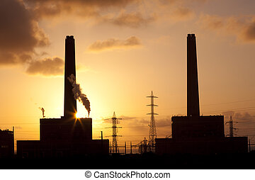 Power Plant - Power plant at sunset