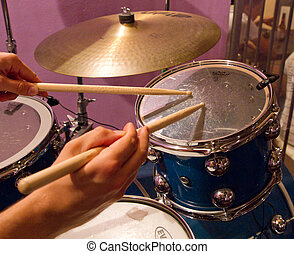 drum kit - Close up of drum kit with cymbal and drumsticks
