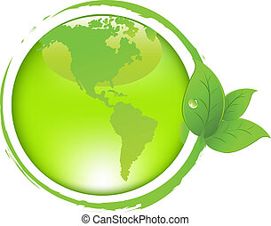 Green Earth With Leaves, Isolated On White Background,...
