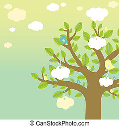 Cartoon Tree And Bird, Vector Illustration