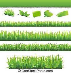 Green Grass And Leafs Set