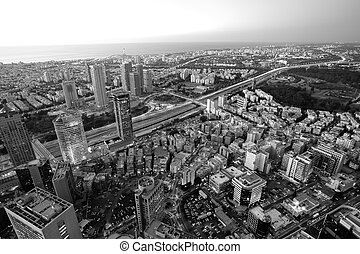 Cityscape - Tel Aviv in black and white, Ramat Gan Exchange...