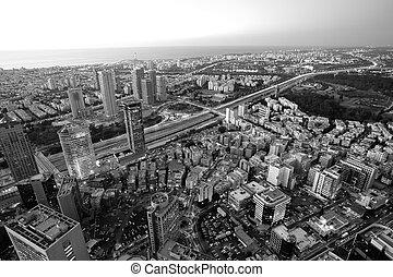 Cityscape - Tel Aviv in black and white, Ramat Gan Exchange...