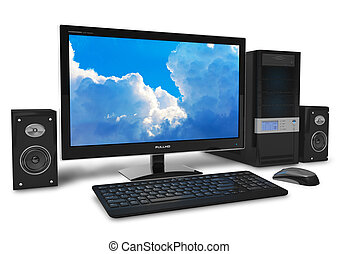 Desktop computer - Black stylish desktop PC isolated on...