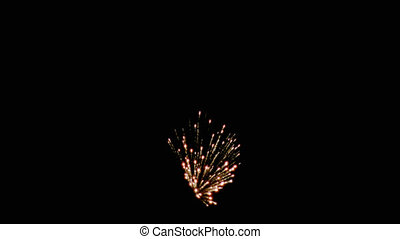 Fireworks - EXPL004HD - burst of 3 fireworks against night...