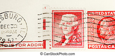 Postage stamps - US stamps on envelope