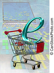 E-Commerce in a shopping cart.