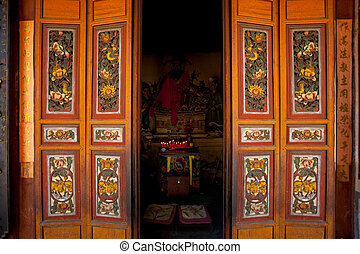 Chinese Temple Doors Altar - An elaborately decorated door...