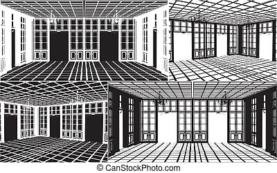 Antique Bookcase Room Silhouette Vector