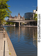 Rideau Canal and Convention Centre in Ottawa, Canada.