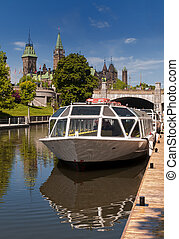 The Rideau Canal and Parliament Hill in Ottawa, Canada