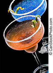 Cobalt and Peach Margarita over black background
