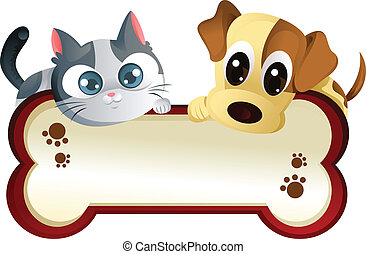 Dog and cat with banner - A vector illustration of a dog and...