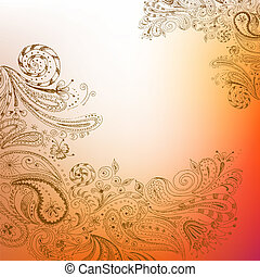 Eastern hand drawn background - Eastern stylish hand drawn...