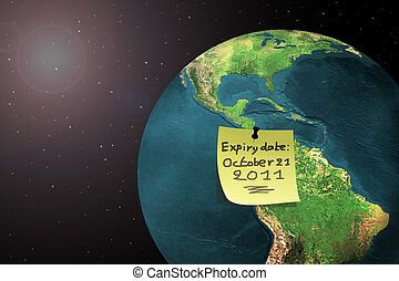 end of the world 2011 - sticky note on earth with doomsday...