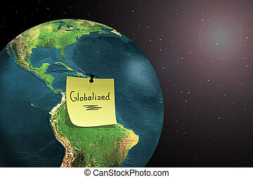 world globalization - sticky note on earth showing world...