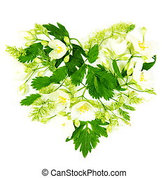 Heart Made of Flowers and Leaves