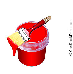 red paint bucket