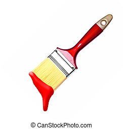 paint brush with red bristles isolated on white