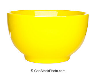 Yellow ceramic bowl on white background