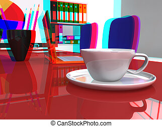 3D stereoscopic office desk with laptop and coffee
