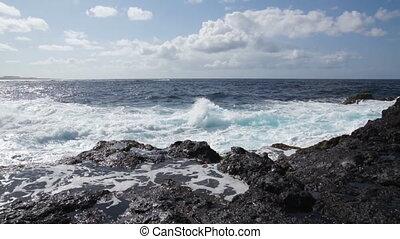 Ocean waves in Garachico, Tenerife - Ocean storm in...