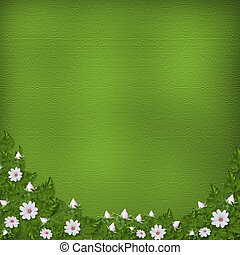 Grunge paper in scrapbooking style with bunch of flowers