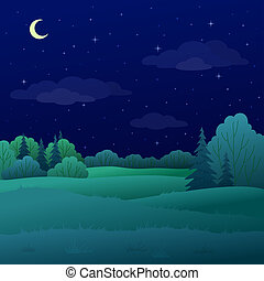 Landscape, night summer forest - landscape: night summer...