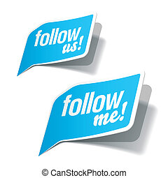 Follow me and follow us bubbles - Vector illustration of...